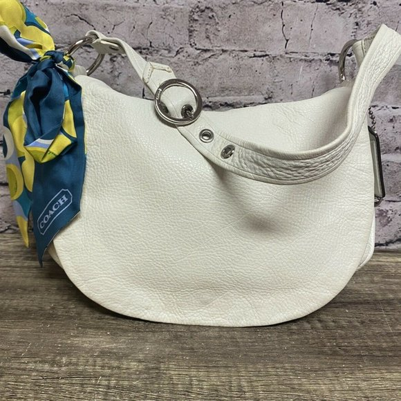 Coach Women's White Leather Flap Over Hobo